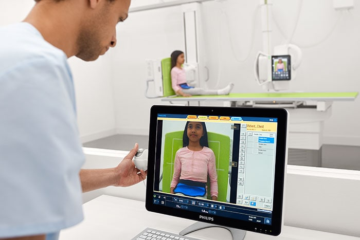 The Philips DigitalDiagnost C90 shown from the control room.