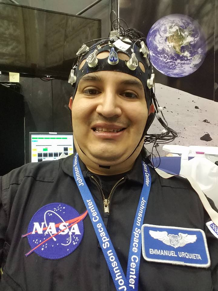 Dr. Emmanuel Urquieta wears a brain wave monitoring device during a HERA 11 mission in 2016.