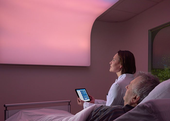 Philips VitalSky personalized light therapy system encourages natural sleep-wake rhythm for patients in the ICU.
