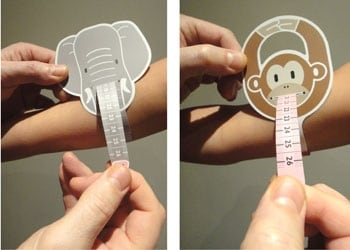 Fight Malnutriton concept: Trunky and Monkey, mid-upper arm circumference measuring straps