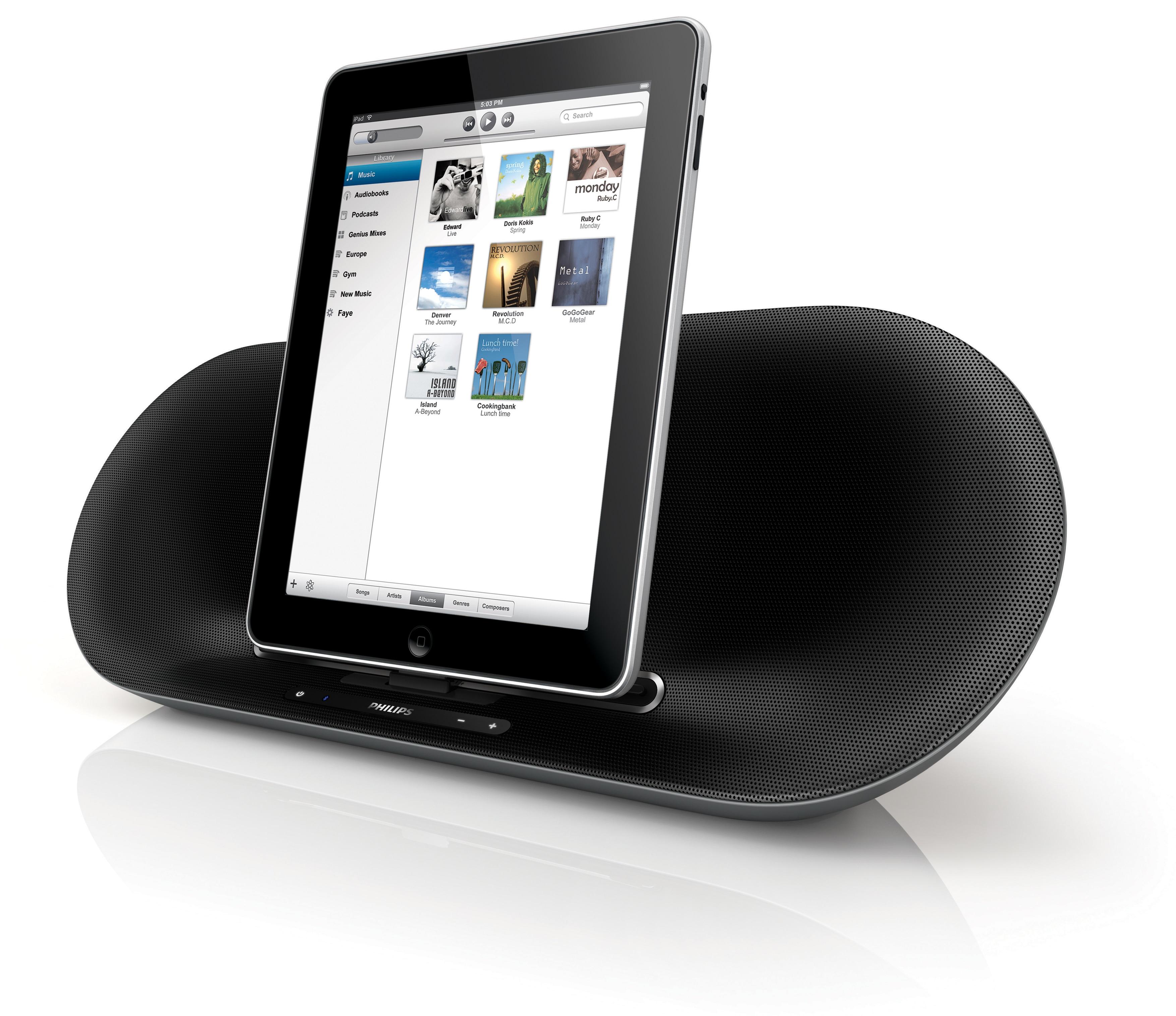 die fidelio docking lautsprecher von philips holen den guten klang aus dem ipad. Black Bedroom Furniture Sets. Home Design Ideas