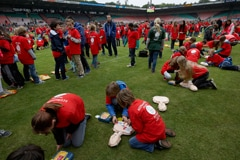Group AED training in Goffert stadion, Nijmegen The Netherlands